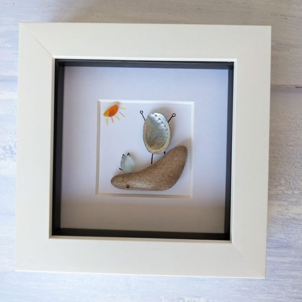 on top of the world framed seaglass picture