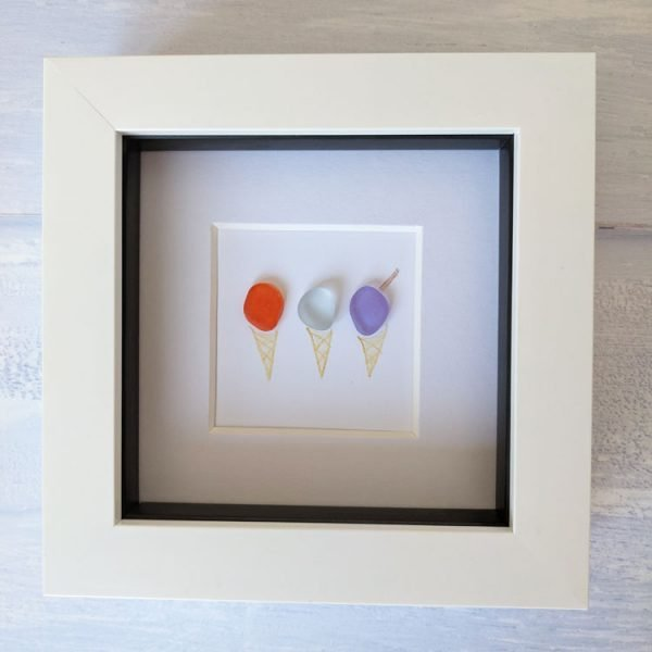 ice cream framed seaglass picture