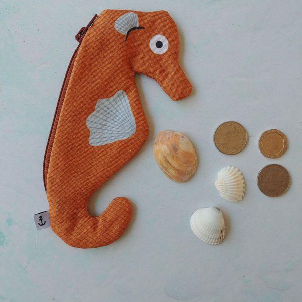 seahorse orange purse