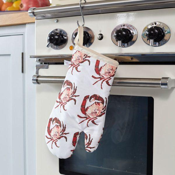 cotton crab print oven glove