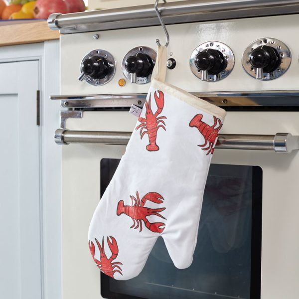 cotton lobster print oven glove