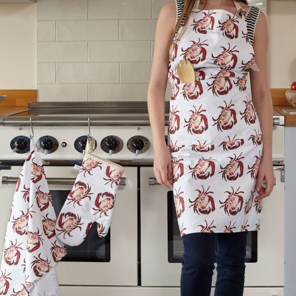 cotton crab print apron