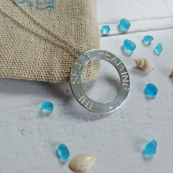 dreaming of the sea hand stamped washer necklace