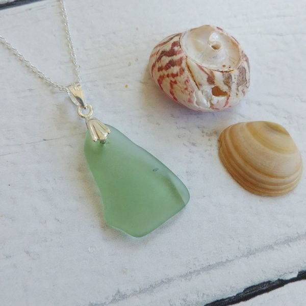pale green seaglass pendant necklace