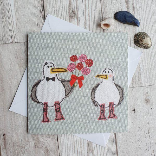 romantic gull greeting card