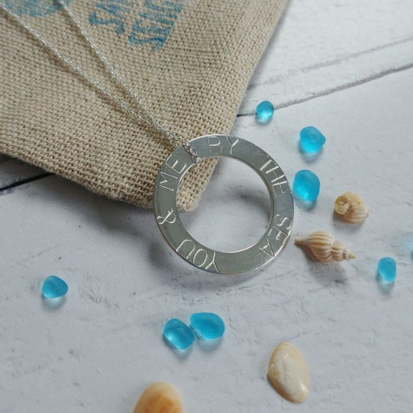 you and me by the sea stamped necklace