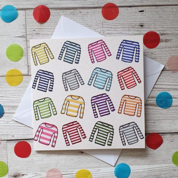 stripy top greeting card